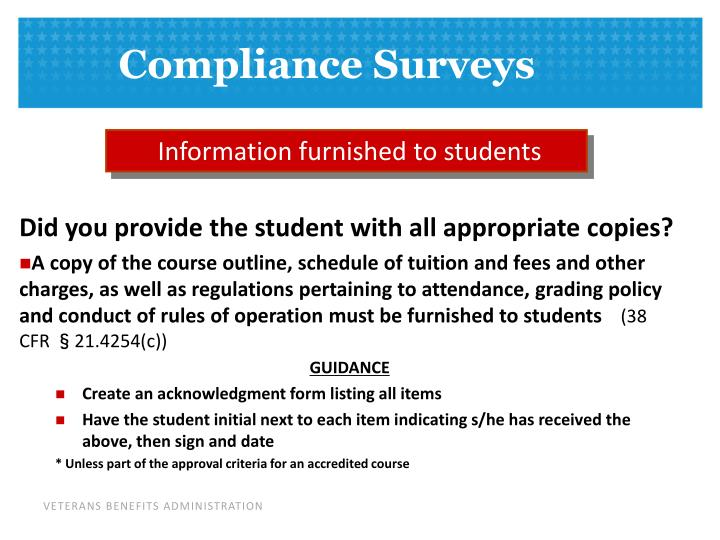 Information furnished to students