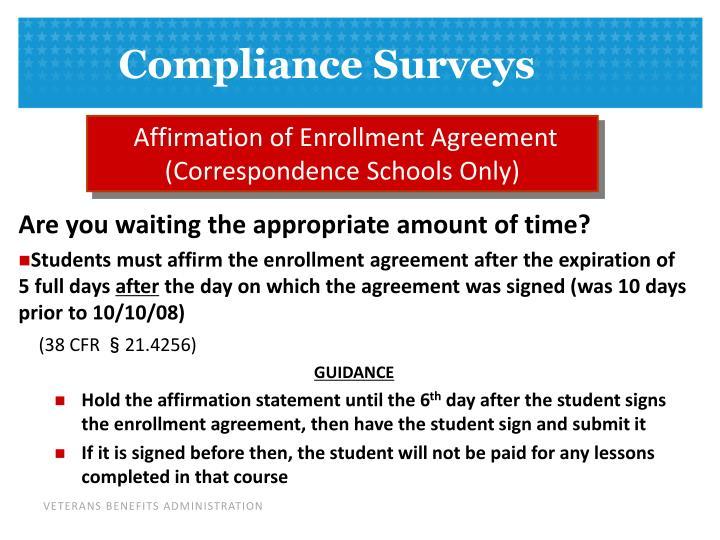 Affirmation of Enrollment Agreement (Correspondence Schools Only)
