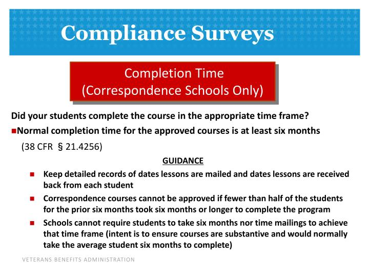 Completion Time (Correspondence Schools Only)