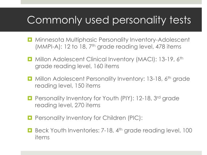 Commonly used personality tests