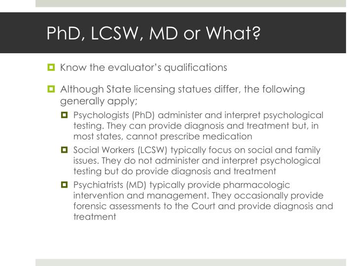 PhD, LCSW, MD or What?
