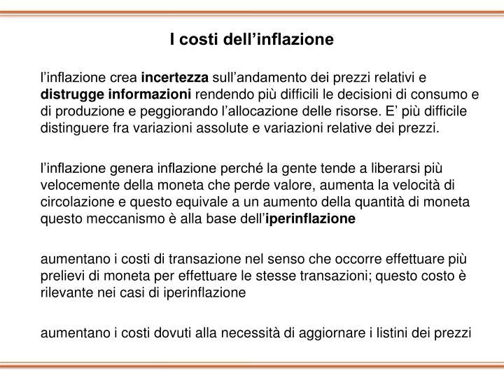 I costi dell'inflazione