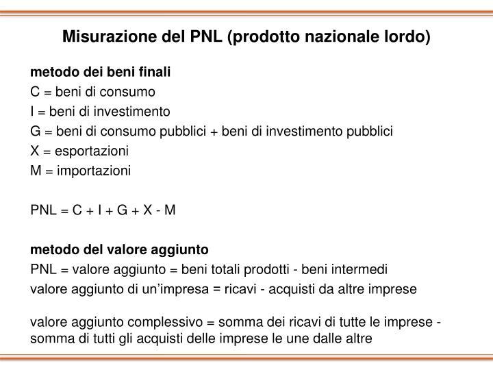 Misurazione del PNL (prodotto nazionale lordo)
