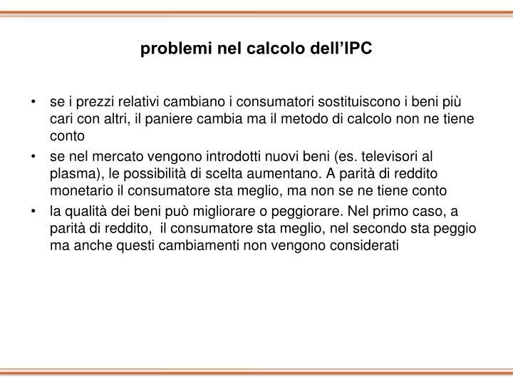 problemi nel calcolo dell'IPC