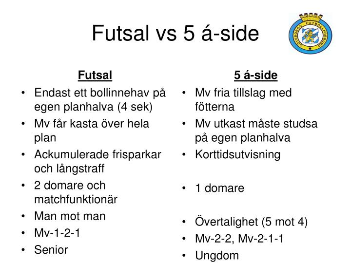 Futsal vs 5 á-side