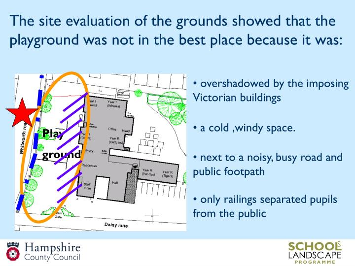 The site evaluation of the grounds showed that the playground was not in the best place because it w...