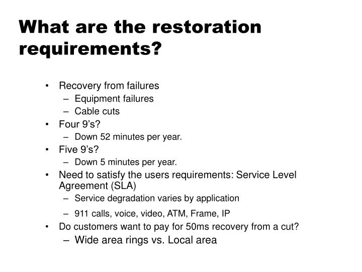 What are the restoration requirements?