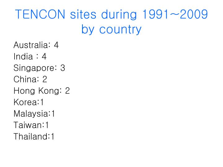 TENCON sites during 1991~2009 by country