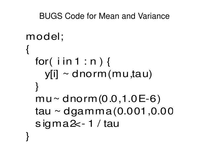 BUGS Code for Mean and Variance
