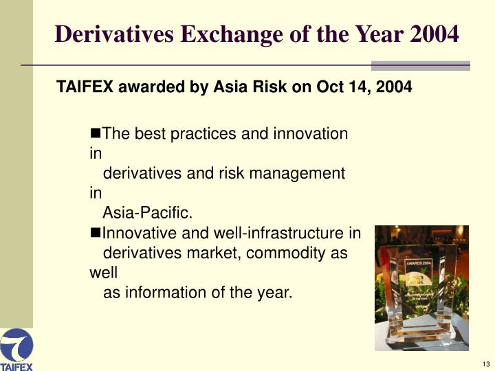 Derivatives Exchange of the Year 2004