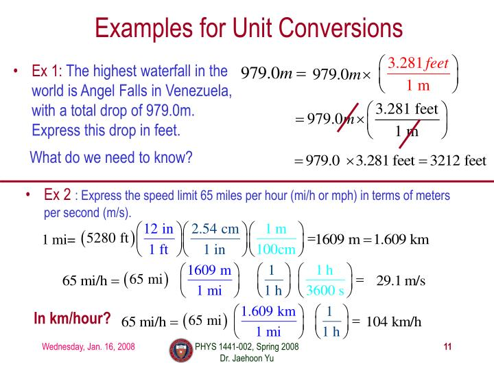 Examples for Unit Conversions
