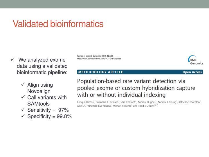 Validated bioinformatics