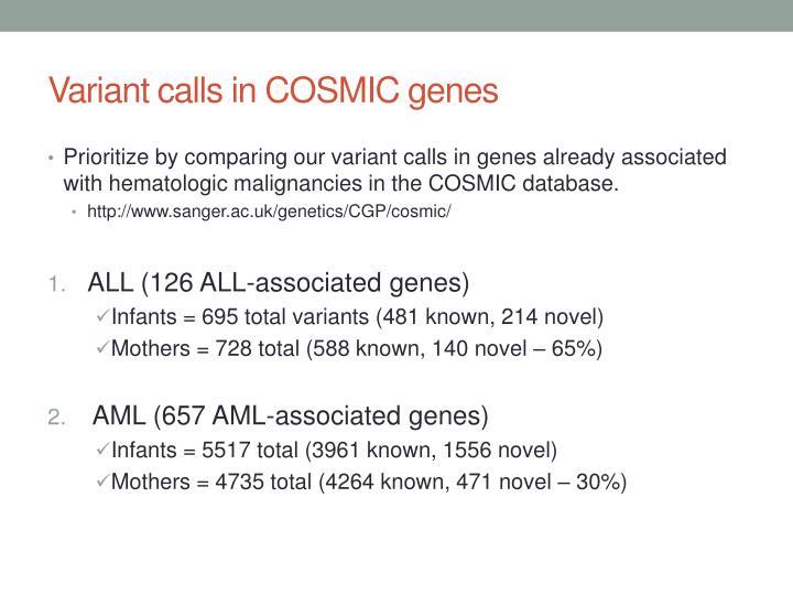 Variant calls in COSMIC genes