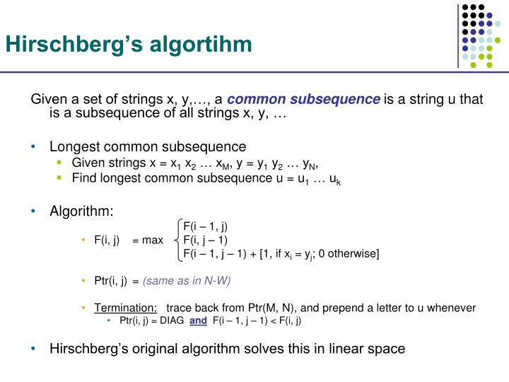 Hirschberg's algortihm