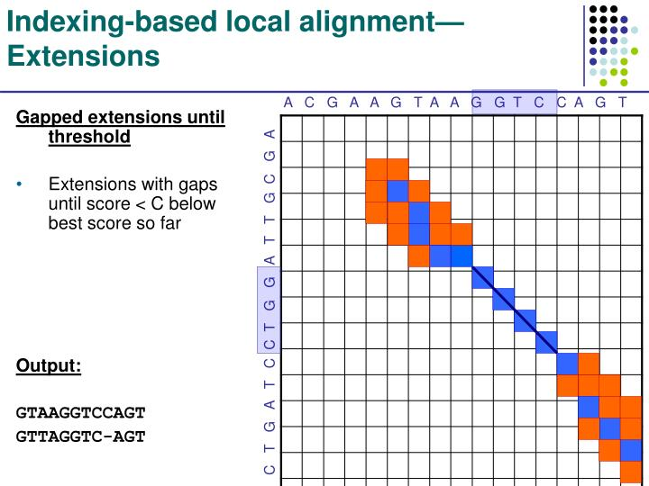 Indexing-based local alignment—Extensions