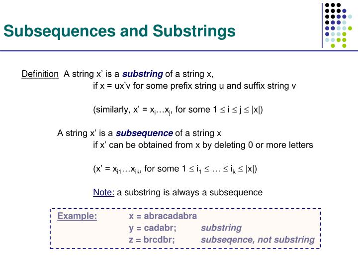 Subsequences and Substrings
