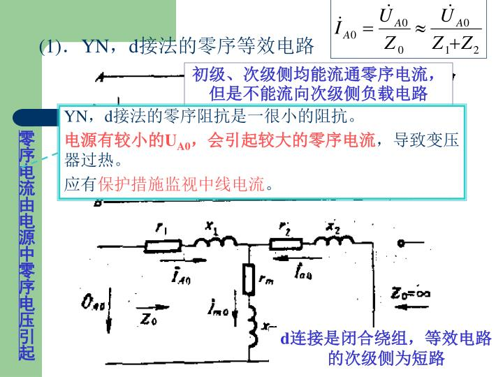 零序电流由电源中零序电压引起
