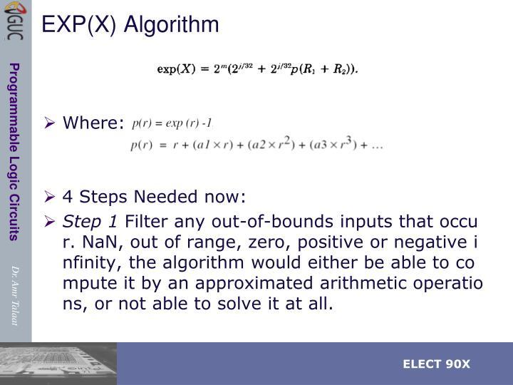 EXP(X) Algorithm