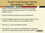 family youth system partner roundtables fysprt