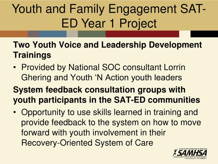 Youth and Family Engagement SAT-ED Year 1 Project