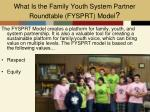 what is the family youth system partner roundtable fysprt model