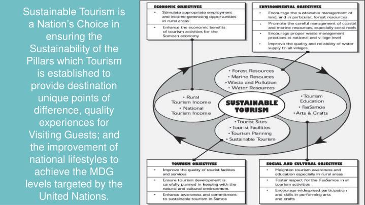 Sustainable Tourism is a Nation's Choice in ensuring the Sustainability of the Pillars which Tourism is established to provide destination unique points of difference, quality experiences for Visiting Guests; and the improvement of national lifestyles to achieve the MDG levels targeted by the United Nations.