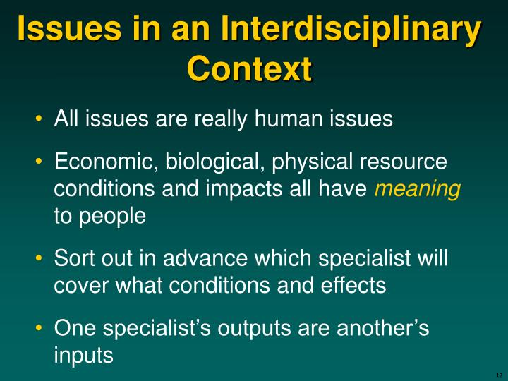 Issues in an Interdisciplinary Context