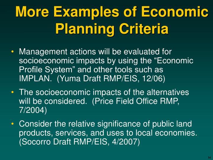 More Examples of Economic