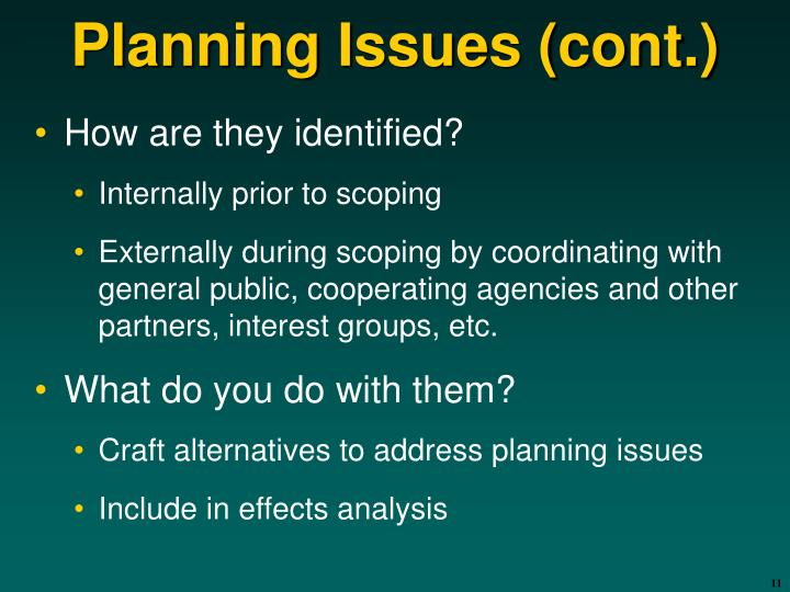 Planning Issues (cont.)