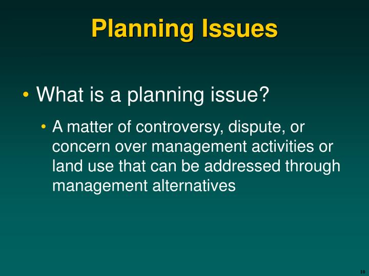 Planning Issues