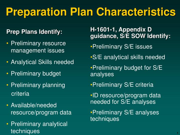 Prep Plans Identify: