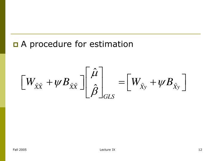 A procedure for estimation