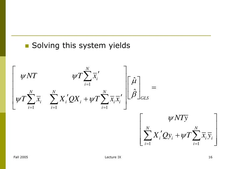 Solving this system yields