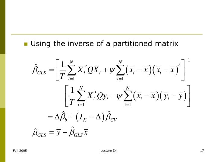 Using the inverse of a partitioned matrix