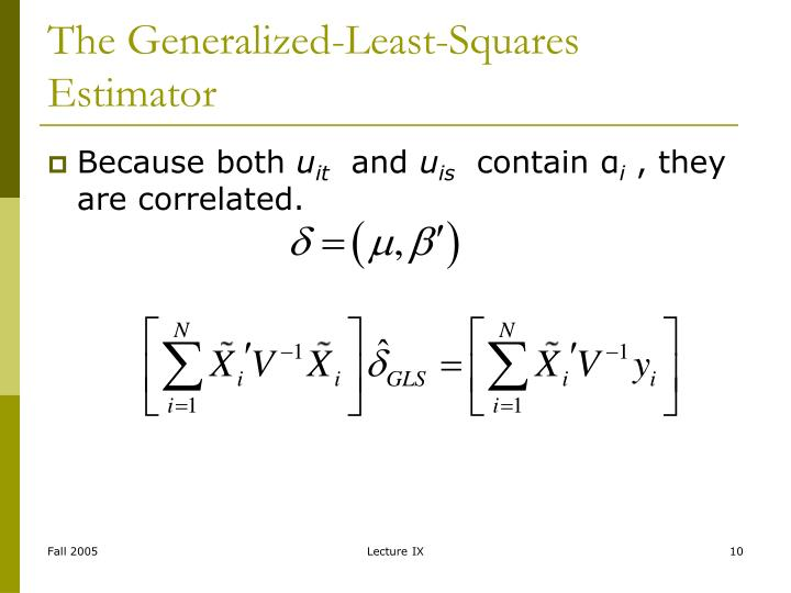 The Generalized-Least-Squares Estimator