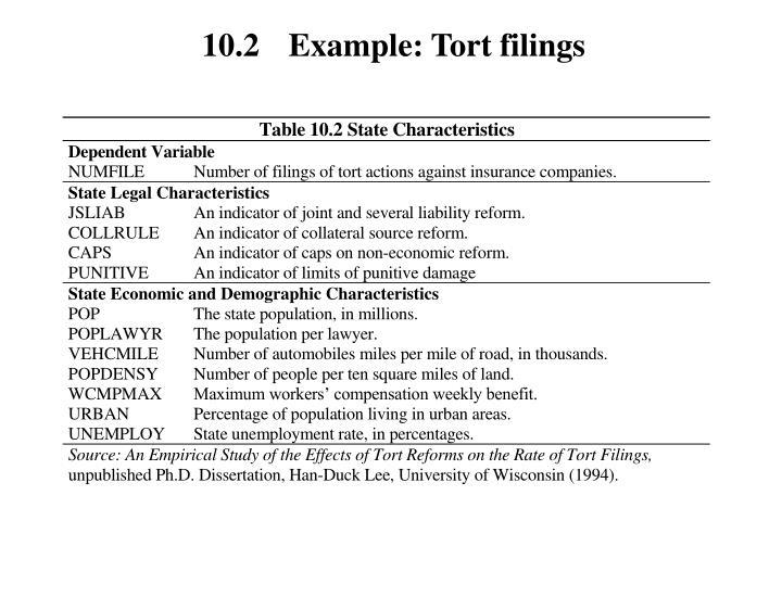 10.2 Example: Tort filings
