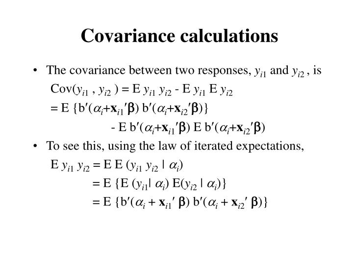 Covariance calculations