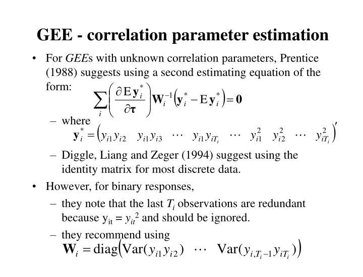GEE - correlation parameter estimation