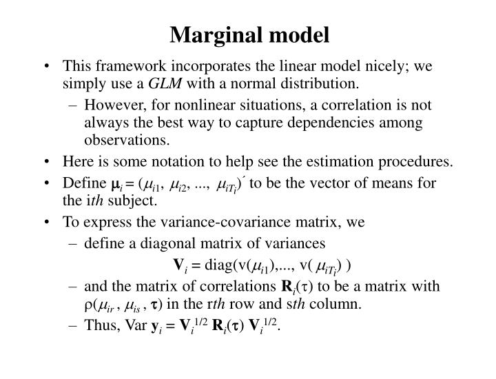 This framework incorporates the linear model nicely; we simply use a