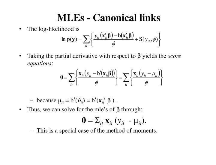MLEs - Canonical links