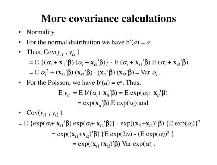 More covariance calculations