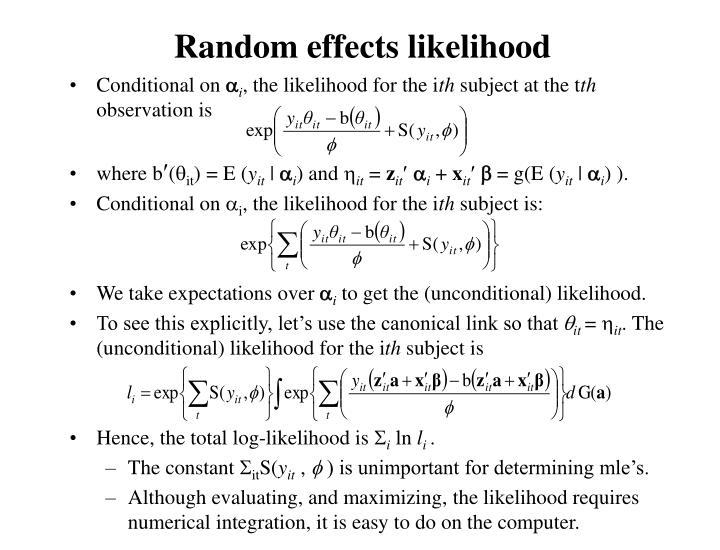 Random effects likelihood