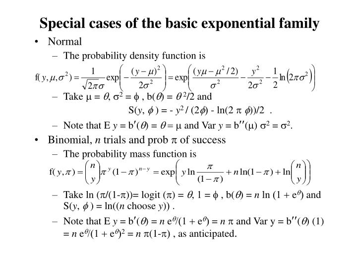 Special cases of the basic exponential family