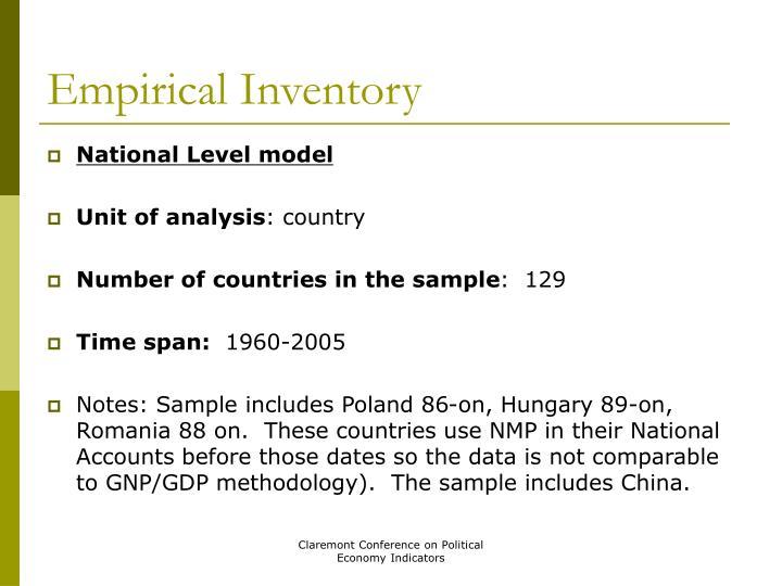 Empirical Inventory