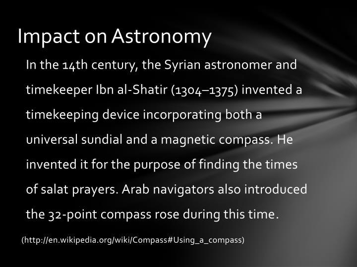 Impact on Astronomy