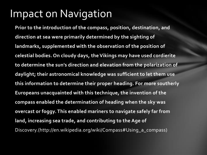 Impact on Navigation