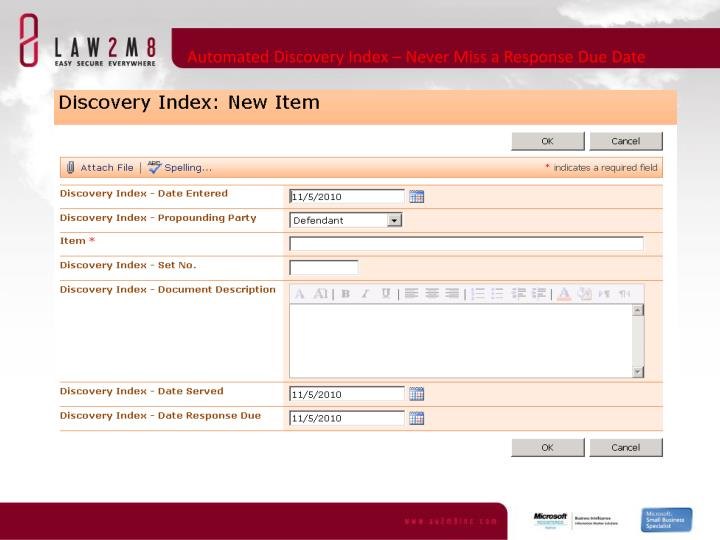 Automated Discovery Index – Never Miss a Response Due Date