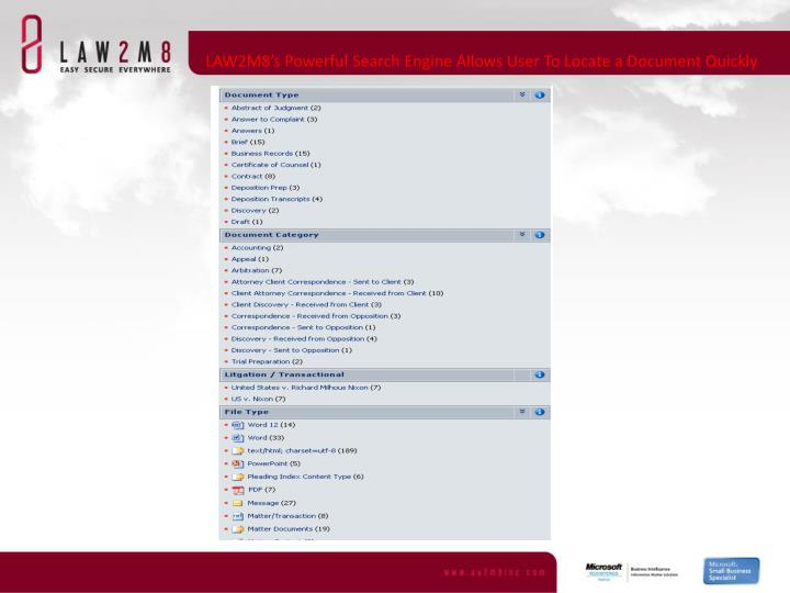 LAW2M8's Powerful Search Engine Allows User To Locate a Document Quickly