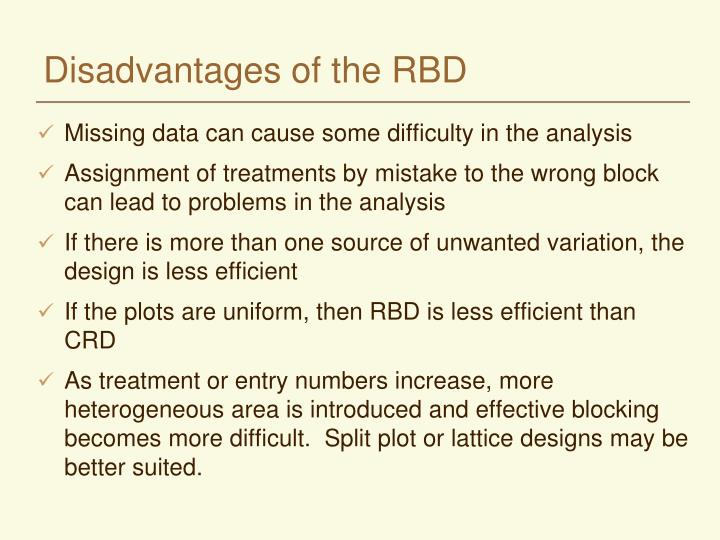 Disadvantages of the RBD