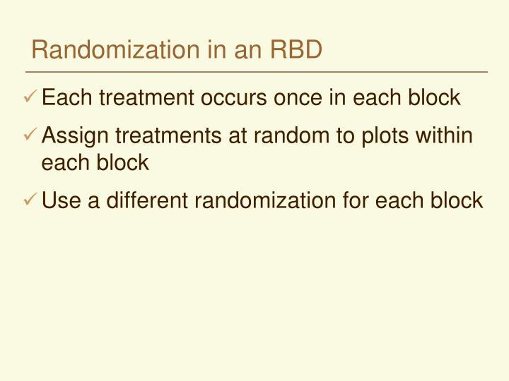 Randomization in an RBD